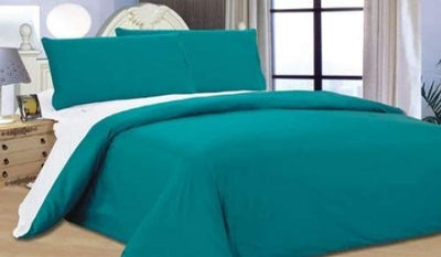 Complete Double, Reversible Teal/ White, Duvet Cover and Fitted Sheet Bed Set by Viceroybedding