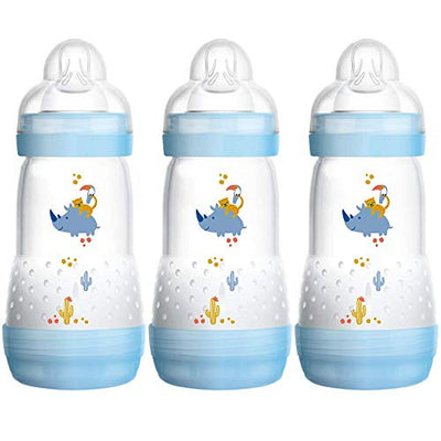 MAM Easy Start Self Sterilising Anti-Colic Bottle Pack of 3 (3x260ml), MAM Bottles with Medium Flow MAM Teats, 2 MONTHS + , Blue (Designs May Vary)