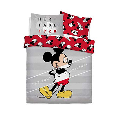 Disney Mickey Mouse Duvet Cover Set New Cartoon Bedding Set for Kids Two Side Reversible Double Bed Size Children Quilt Cover with Matching Pillowcases, Mickey Mouse True Original