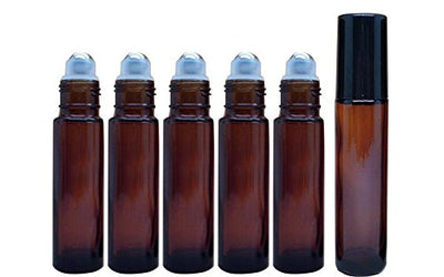 Amber Pack of 6 10ml 0.34oz Brown Glass Roll On Bottles With Stainless Steel Roller Ball for Essential Oil Perfumes Lip Gloss Balms Roller Bottle Vial Container