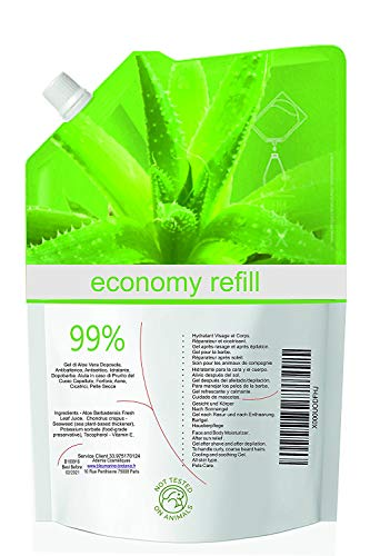 Economic Refill 1 kg ALOE VERA GEL 99% Pure Fresh Aloe Juice from Canary 1000 ML 100% Natural