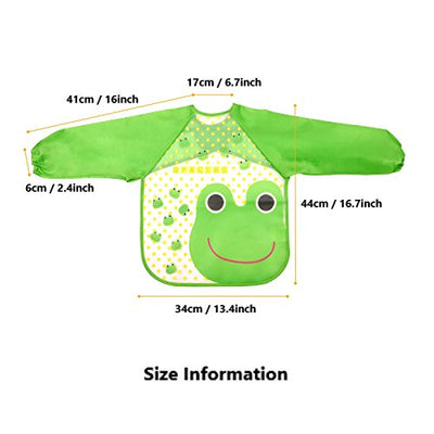Skroad 4 Pcs Baby Bibs with Sleeves, Unisex Waterproof Feeding Bibs for Infant Toddler 12 to 36 Months
