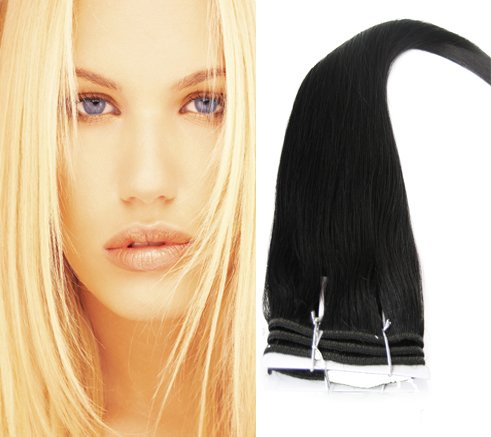 #1 Jet Black-Silky- Full Head Remy Human Hair Weaves/weft - Silky Straight-Grade AAA, 100g (20)