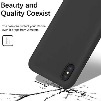 Gorain Case for iPhone X/XS, Liquid Silicone Shockproof Gel Rubber Cover Drop Protective Case with Soft Microfiber Lining for iPhone X/XS 5.8 inch-Black