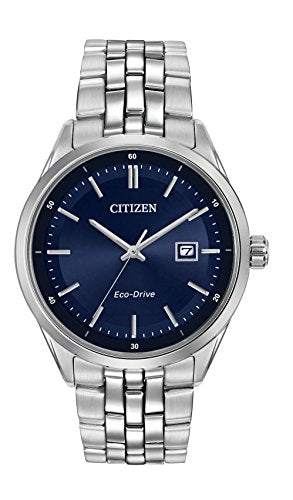 Citizen Watch men's quartz Watch with blue Dial analogue Display and silver stainless steel Bracelet BM7251-53L