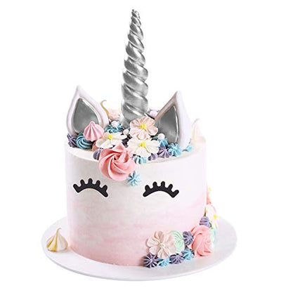 Opret Unicorn Cake Topper, Handmade Silver Unicorn Cake Decoration Set with Horn, Ears and Eyelashes for Birthday Party, Baby Shower and Wedding