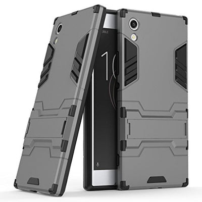Case for Sony Xperia XA1 (5 inch) 2 in 1 Shockproof with Kickstand Feature Hybrid Dual Layer Armor Defender Protective Cover (Grey)