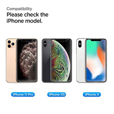 Spigen, 2Pack, iPhone 11 Pro Screen Protector/iPhone XS/X Screen Protector, EZ FIT Glas.tR, Installation Kit Included, Case Friendly, Face ID Compatible, iPhone 11 Pro/XS/X Tempered Glass