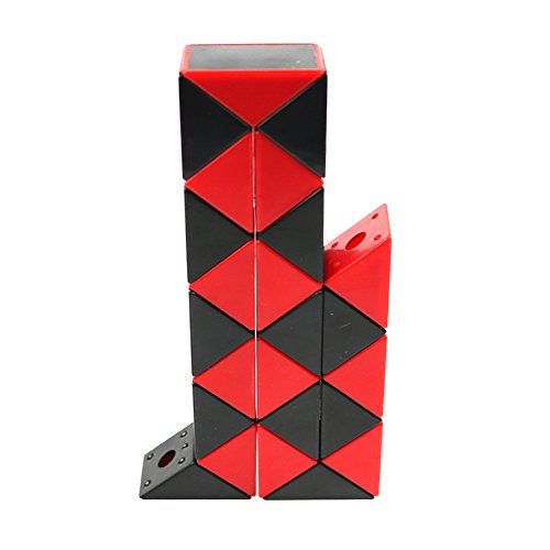 FCBB 24 Parts 3D Black and red Ruler Twist Toy Snake Puzzle Kid Game Toy.