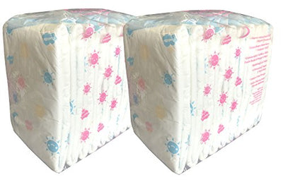Pack of 20 Cuddlz Bright DayZ Pattern Disposable Nappies/Diapers Size Medium Waist 30 to 38 inches (76cm to 96.5cm) ABDL Nappy Incontinence Diaper