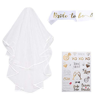 ETSAMOR 3pcs Layer Wedding Bridal Veil Double Comb Satin Hen Party Bride with 1 Belt and 1 Hot Stamping for Hen Do Night Bachelorette Party Bridal Shower Accessories