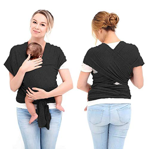 Baby Wrap Carrier Adjustable Breastfeeding Cover Cotton Baby Carrier for Infants up to 35lbs//16kg HyAiderTech Baby Wrap Carrier Soft and Comfortable with Storage Bag