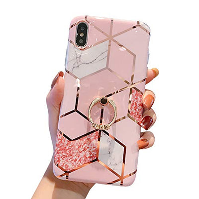 MoreChioce Compatible with iPhone XS Max Silicone Case, Marble Design Cover,Flexible TPU Bumper Plating Drop Protective Case,Slim-Fit Anti-Scratch with Stand Holder,Color #02