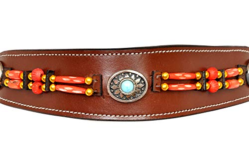 Manaal Enterprises 4 Piece Beaded Tribal Western Premium Leather Headstall /& Breast Collar Set PONY, BROWN NEW HORSE TACK