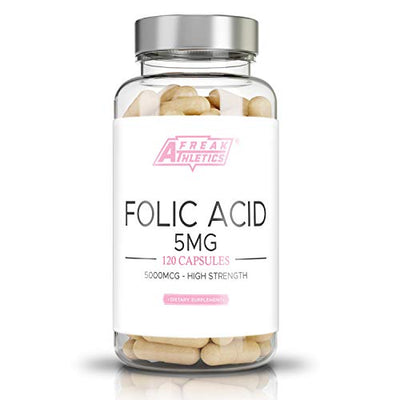 Folic Acid 5mg - 5000mcg (Vitamin B9) | 120 Easy Swallow Capsules | Folic Acid for Pre Pregnancy | Manufactured in The UK High Quality Folic Acid Guaranteed
