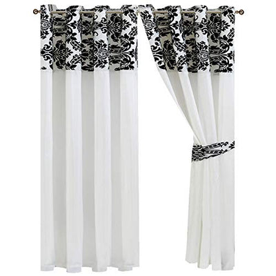 66x72 White Kelly Plain Design With Black Flock Ring Top Hookless Pair Of Curtain