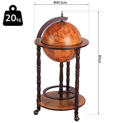HOMCOM Globe Shaped Vintage Retro Style Drink Cabinet Mini Bar Wine Alcohol Beverage Storage Trolley Glass Bottle Holder Movable w/Wheels 36CM