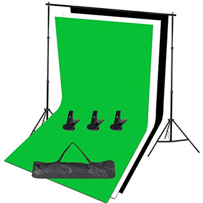 Photo Studio Adjustable Backdrop Support Stand Kit 1.6 x 3m Black / White / Green Backdrop screen + Background Support System + Carry bag-Photo Studio Photography Set