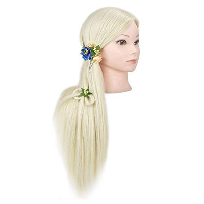 26-28 Training Head Hairdresser Mannequin Head Manikin Head Hair Styling Dolls Head Synthetic Hair with Free Clamp