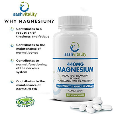 Magnesium Citrate 1480mg Providing 440mg Elemental Magnesium Per Serving - 240 Vegan Certified Tablets - High Dose of Elemental Magnesium - 120 Days Supply - Made in The UK by Sash Vitality