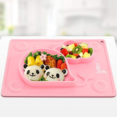 Silicone Baby Suction Plates for Toddlers Kids, Babies Feeding Mat, Placemat, Suction Bowl for Baby Led Weaning 27.5×19.7cm, Pink, by Super Kitchen