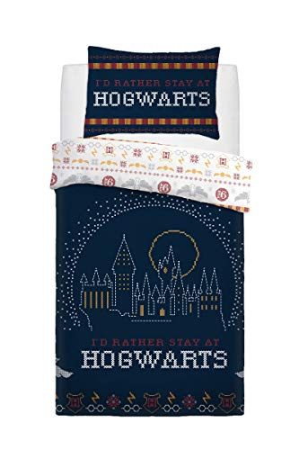 Harry Potter Christmas Break Bedding Set - Single Reversible Duvet Cover Set and Pillowcase