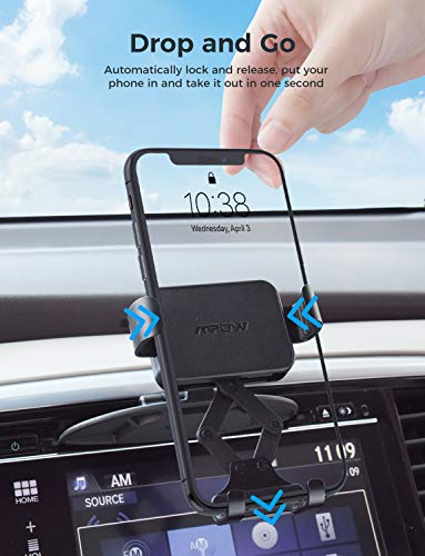 Mpow CD Slot Phone Holder, CD Slot Mount with Gravity Auto-Lock & Auto Release Design for One-hand Operation, Compatible with iPhone 11 11Pro 11 Pro Max XS Max XR X, Samsung Galaxy S10+ S9 Plus, etc