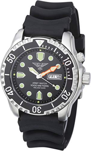 Army Diving Watch, 100 ATM/1000 metres, Silicone Strap, Black, EP846