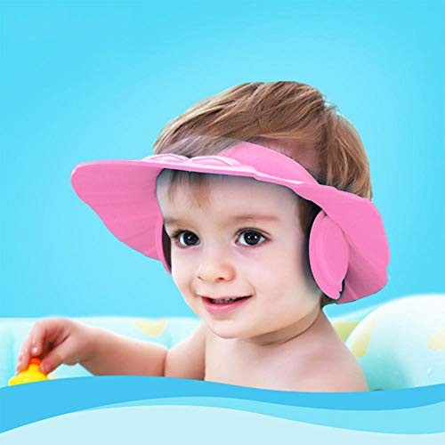 Baby Bath Shower Wash Shampoo Visor Cap Adjustable Bathing tub Head Hair Rinser hat Prevent Water Entering Eyes and Ears Protection Kid and Toddler Pink