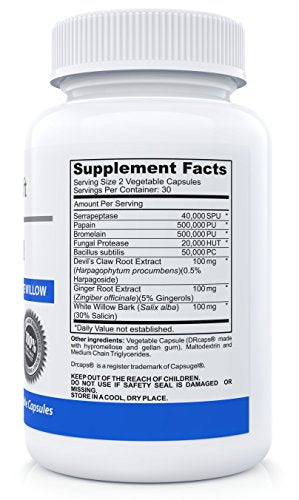 #1 Natural Pain Relief Supplement and Anti Inflammatory Support For Joint, Muscle and Nerves With Bromelain, Serrapeptase, Devils Claw and White Willow Bark - 60 Vegetable Capsules