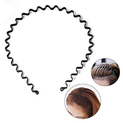 Unisex Black Spring Wavy Metal Hair Hoop Band Men Women Sports Headband Headware Accessory