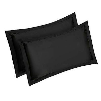 Pair Satin Silk Pillowcases for Hair and Skin Pillow Cover Case 84x54cm (Black)