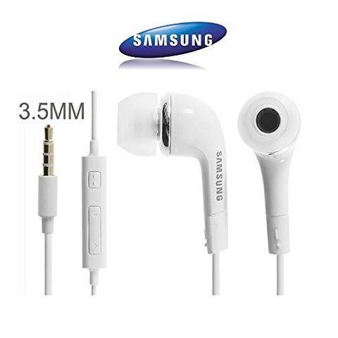 GENUINE ORIGINAL EHS64AVFWE WHITE SAMSUNG IN EAR HEADPHONES/STEREO HEADSET/HANDSFREE KIT/HEADPHONES 3.5MM MIC FOR Galaxy S7, S6 Edge Plus, S5 Mini, S4 I9500, S4 Mini I9190,(Bulk Packaging)