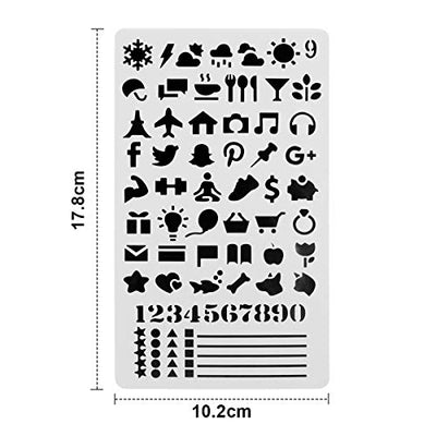20 pcs Bullet Journal Stencils Over 1000 Different Patterns 4 x 7 Plastic Planner Stencils Drawing Templates Set for Journal/Notebook/Diary/Scrapbook/DIY Card/Art Craft Projects