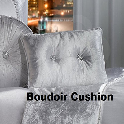 BLING Crushed Velvet Diamante Bedding Bedroom Collection by Viceroybedding (White Boudoir Cushion)
