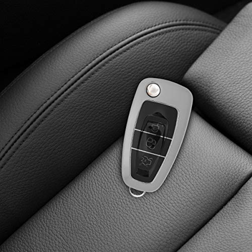 TPU Key Fob Cover with Varnished Buttons for Ford 3 Button Car Flip Key Silver High Gloss kwmobile Car Key Cover for Ford