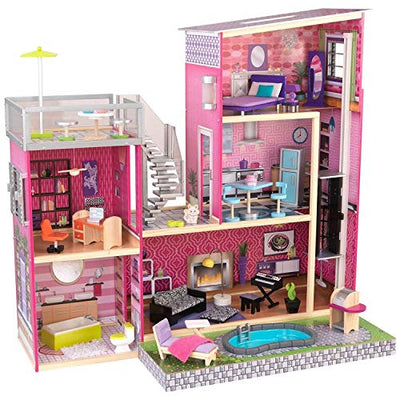KidKraft 65833 Mansion Dollhouse for 12 Dolls, Pink, Standard Size