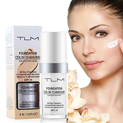30ml TLM Flawless Colour Changing Foundation Makeup, Warm Skin Tone Foundation liquid Base Nude Face Moisturizing Liquid Cover Concealer for Women and Girls