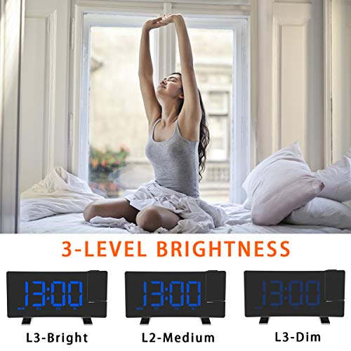 Blue FM Digital Alarm Clock Curved-ScreenFM Radio//Time Projection//Adjustable Projector//Snooze//Dual Alarms//USB Charger Port//12//24 Hour//Dimmer ALLOMN Projection Alarm Clock