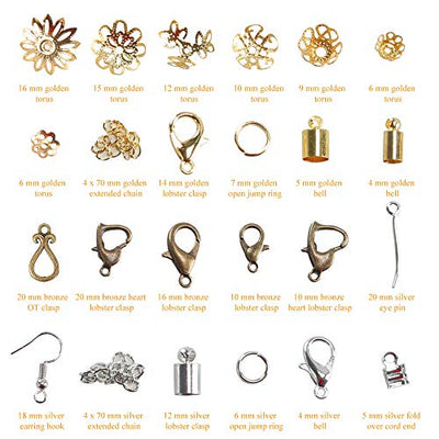 Jewelry Making Kit, ETSAMOR 1060pcs Jewelry Findings Kits with Repair Tool Accessories DIY Handmade for Adult and Beginners