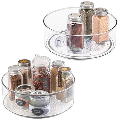 mDesign Lazy Susan Turntable Condiment Holder - Set of 2 - Plastic Revolving Condiments and Spice Rack - Ideal Kitchen Storage Unit for Cooking Oil, Ingredients, Bottles and Jars - Clear