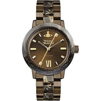 Vivienne Westwood Women's Quartz Watch with Brown Dial Analogue Display and Brown Stainless Steel Bracelet VV165BRBR