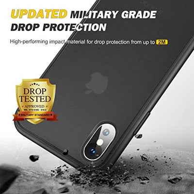 humixx iPhone X Case, iPhone Xs Case [Military Grade Drop Tested] [2nd Generation] Translucent Matte Hard Case with Soft Edges, Anti-Fingerprint, Anti-Drop Protection Cover for iPhone X/Xs - Black