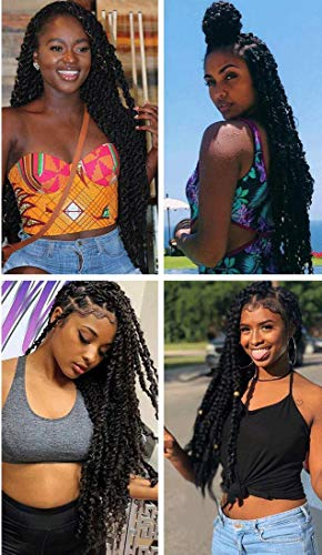 7Packs/Lot Passion Twist Crochet Hair Braids 18Inch Water Wave Crochet Hair Passion Twist Crochet Synthetic Braiding Extensions(1B#)