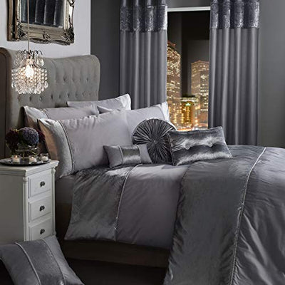 BLING Crushed Velvet Diamante Bedding Bedroom Collection by Viceroybedding (Silver Grey King Duvet Cover Set Including Pair of P/Case)
