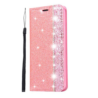Huphant Compatible for iPhone X/iPhone XS Case Glitter Rhinestone Pink