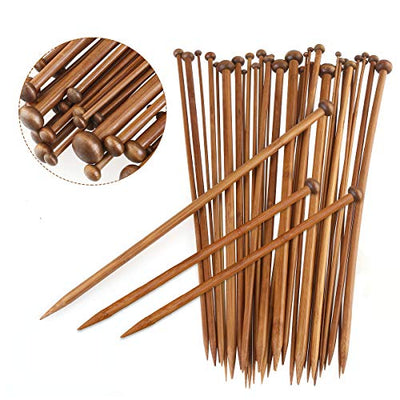 Natuce 36Pcs 18 Sizes 18 Pairs, Bamboo Knitting Needles Set, Knitting Needle Wrap, Bamboo Crochet Hooks, from 2mm to 10mm, Knitting Kits Tools for Beginners and Professionals - 36CM