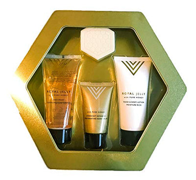 Easter Gift Royal Jelly Gift Set | Body Wash | Hand Cream | Hand and Body Lotion | Luxury Hexagonal Gold Gift Set Tin