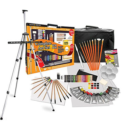 Daler Rowney 111 Piece All Media Art Studio Paint Set with Easel, Canvas, Supplies Painting Kit for Children and Adults