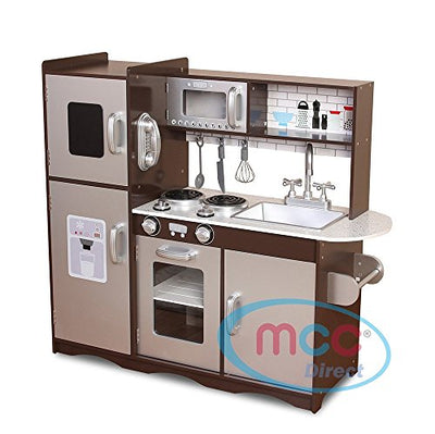 Mcc® Large Kids Brown/Silver Wooden Play Kitchen Children's Role Play Pretend Set Toy Free Utensil Toys